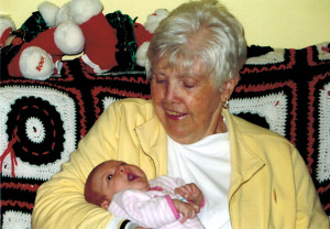 With her first Great-Granddaughter, Ella.