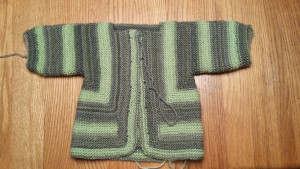 LP's sweater, nearly finished.