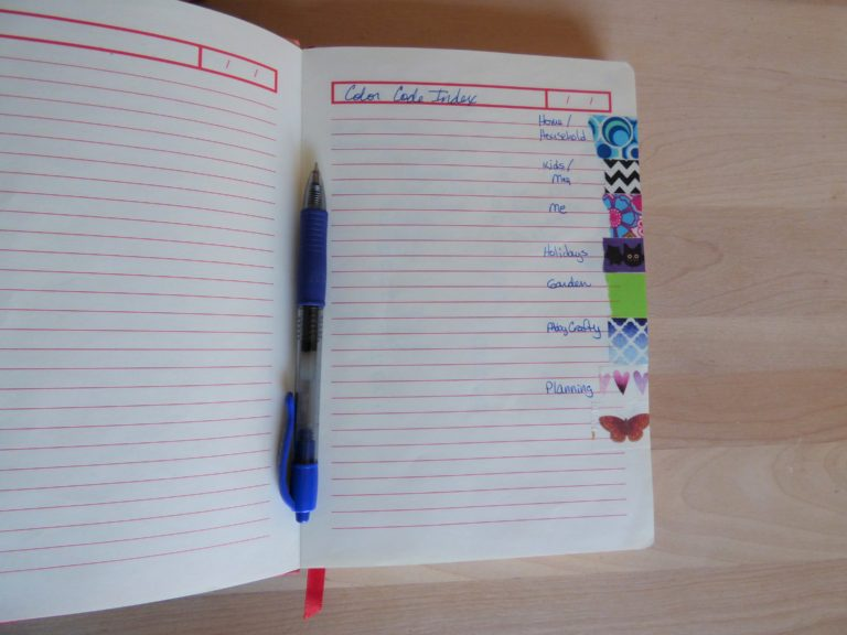 bullet journal washi coded categories