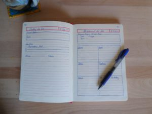bullet journal daily and weekend planner pages