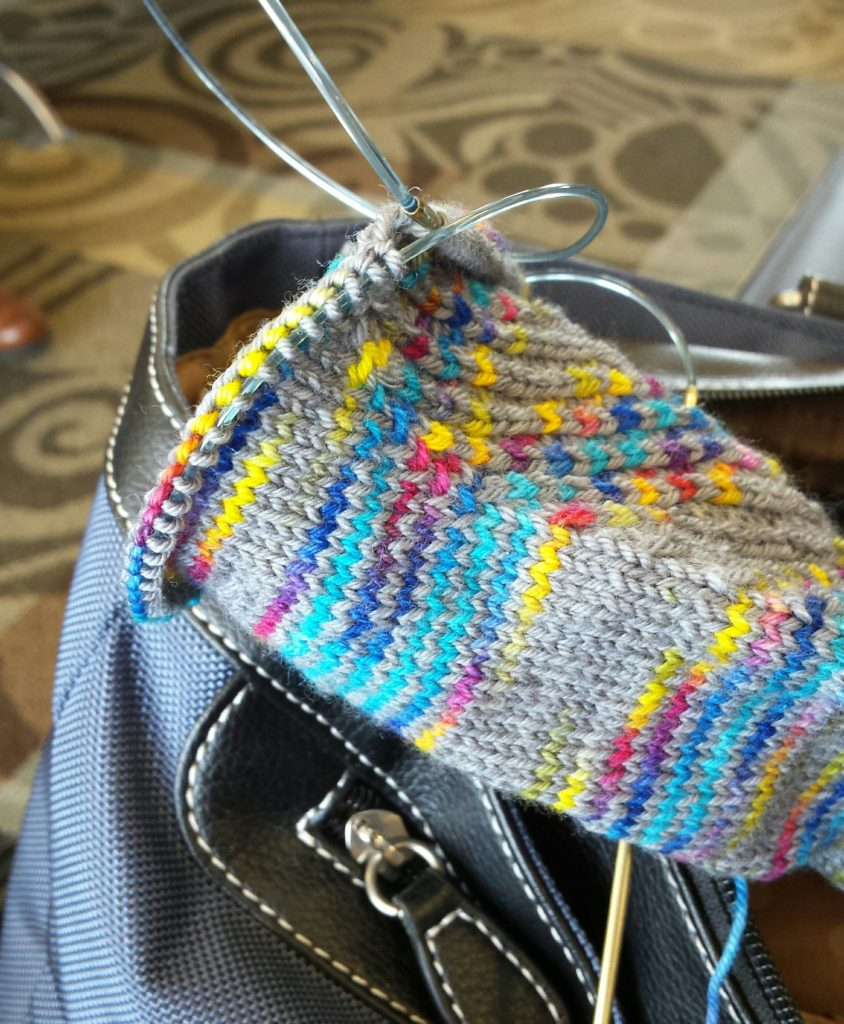 Increasing for hte heel gusset in the airport.