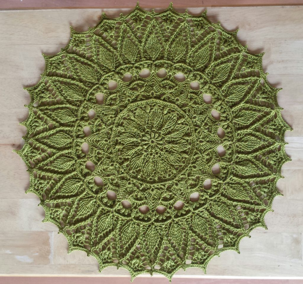 Evelyn Doily in Knit Picks Curio, Lichen colorway.